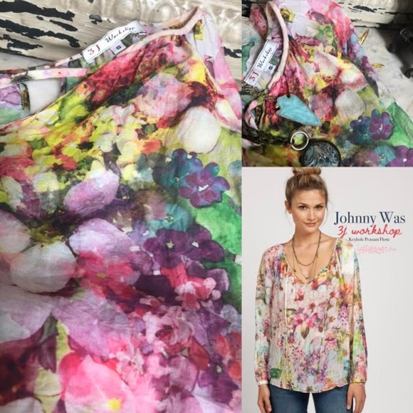 dc2a02a013b Johnny Was Tops - Johnny Was 3J Workshop Floral Keyhole Blouse